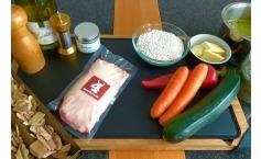 Knusprige und geräucherte Gänsebrust mit Weisswein Gemüse Risotto